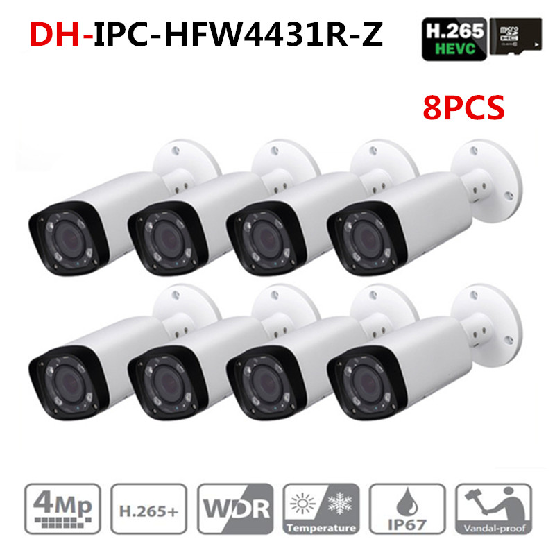 DH IPC-HFW4431R-Z 8pcs/lot 4mp Network IP Camera 2.7-12mm VF Lens Auto Focus 80m IR Bullet Security POE For CCTV SystemDH IPC-HFW4431R-Z 8pcs/lot 4mp Network IP Camera 2.7-12mm VF Lens Auto Focus 80m IR Bullet Security POE For CCTV System