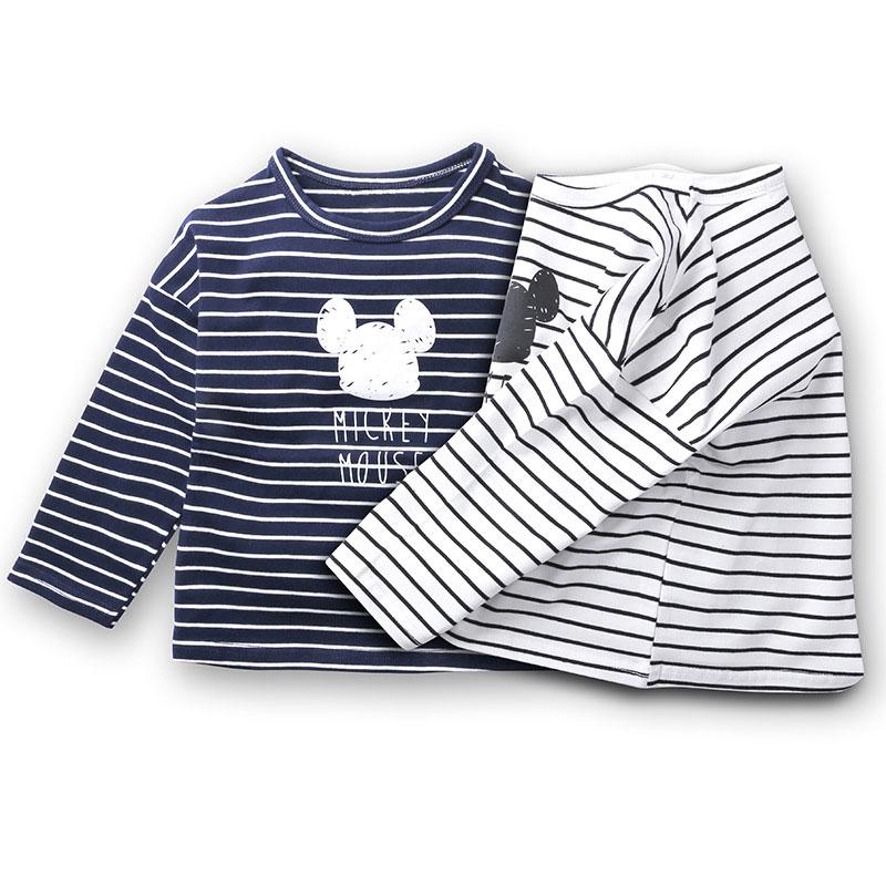 Autumn Fashion Children T-shirt Cartoon Stripe Girls Long Sleeve Cotton Tops Baby Tshirt Baby Boy Girl Boys Tops Kids T-shirts