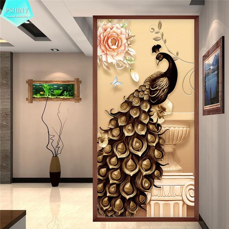 PSHINY 5D DIY Diamond embroidery sale Black Gold Peacock Full Square rhinestone mosaic k ...