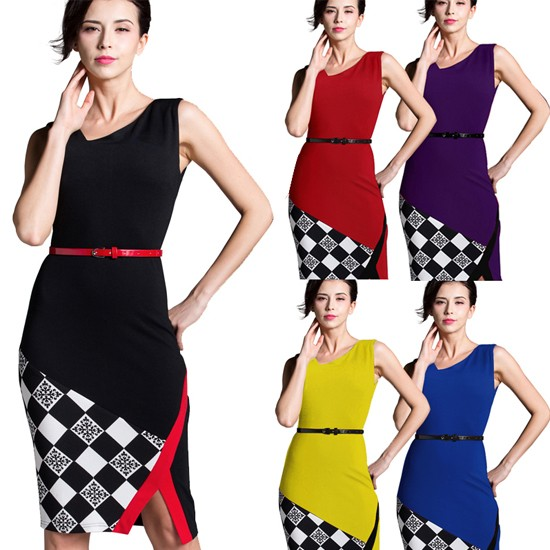 Knee-Length Belted Black Grid Casual Office Business Bodycon Elegant Pencil Dress 1