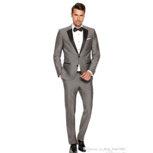Trajes Hombre Formal 2016 Custom Made Fashion Grey Slim Fits Suits Tuxedo Wedding Suits for Men