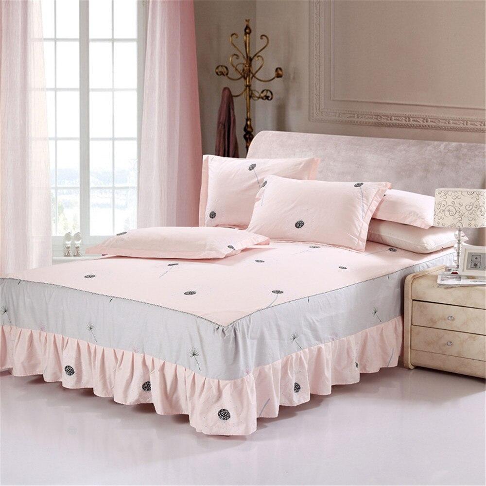 Leuke Mode Prinses Roze Paardebloem 100% Katoen 3 Stks Bed Rok Matrashoes Zachte Kussensloop Twin Volledige Queen King Size Beddengoed Uitstekende (In) Kwaliteit