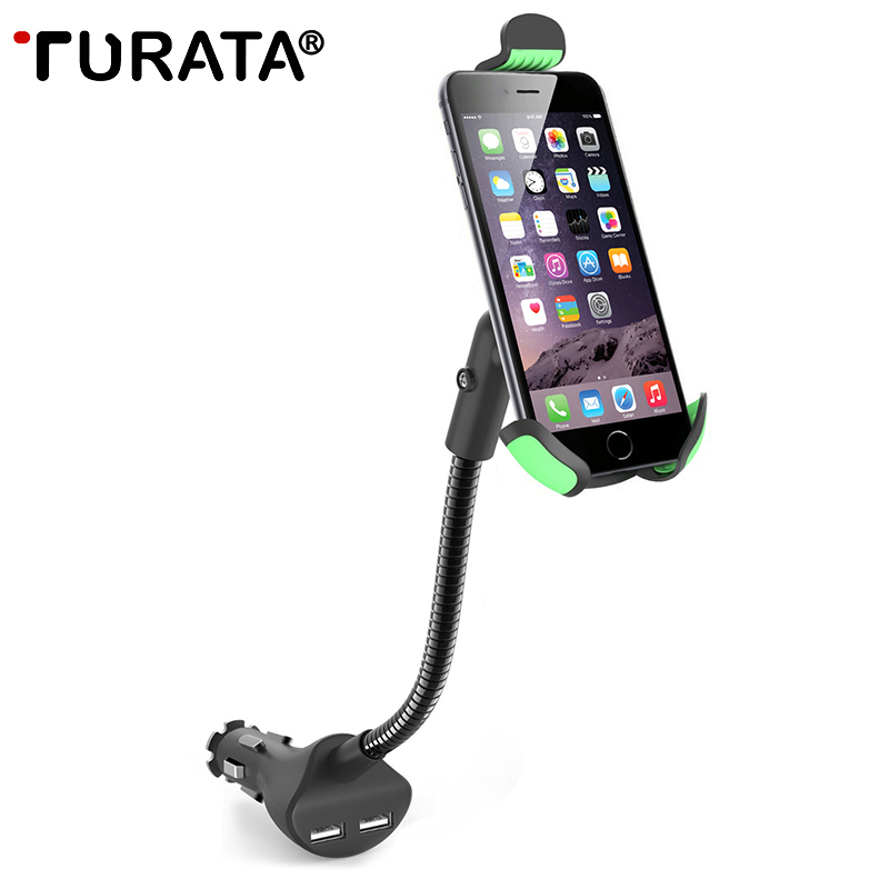 TURATA Phone Holder Universal Gooseneck Car Phone Stand Holder with 2 1A Dual USB Car Charger