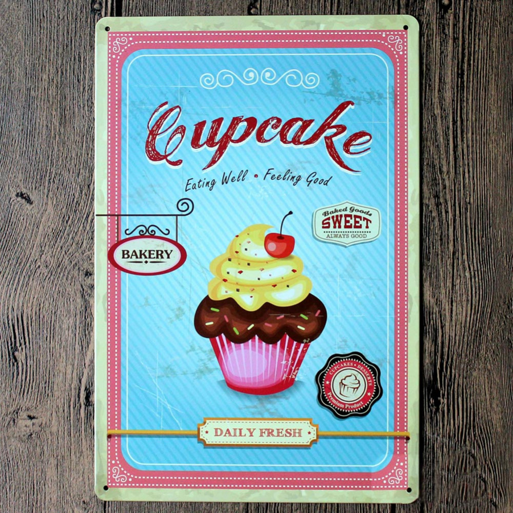 New Cup Cake Eating Well And Feeling Good Metal Poster Tin Sign Wall ...