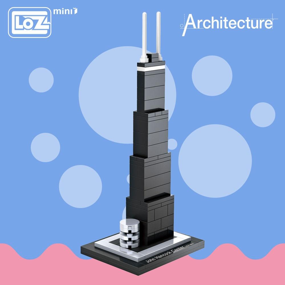 """""""LOZ"""" idėjos """"Mini Block"""" """"John Hancock"""" centras Pasaulio garsioji architektūros serija Jungtinės Valstijos Mini plastikinių blokų žaislas 1001"""