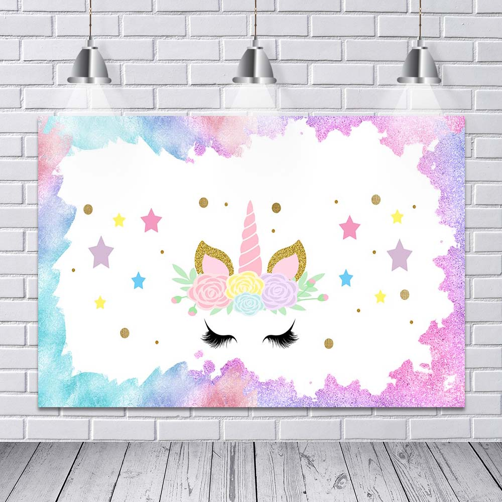 Unicorn Photography Backdrop Baby Shower Birthday Party Banner Decoration Photo Studio Background For Pictures Customization