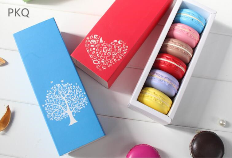 19x7x5cm Blue Macarons Box 10pcs Cookie Package Baking Small Cake Chocolate Muffin Biscuits Box Luxury Wedding Party Decoration
