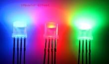 100 قطعة منتشرة شقة أعلى 5 مللي متر RGB عدسة ليد ثنائية