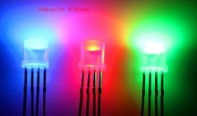 100pcs Diffusi Flat Top 5 millimetri LED RGB Diodo