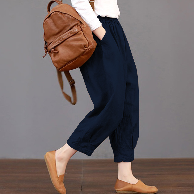 2018 Summer Trousers Women Elastic Waist Pants ZANZEA Fashion Harem Pants Loose Cotton Pantalon Femme Streetwear Plus Size 5XL