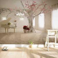 Papel pintado con foto De rama De árbol De Piano De arte moderno para sala De estar, sofá, fondo, pintura 3D para pared, Mural, Papel De pared