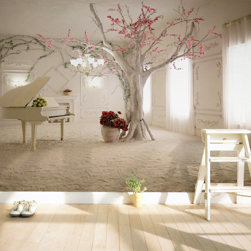 Modern Art Piano Tree Branch Photo Wallpaper Dining Room