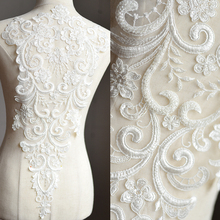 1Piece Lace Beads Super Large Luxury Appliques Ivory Exquisite For Wedding Dress Grown Bridal Veil AIWUJIA