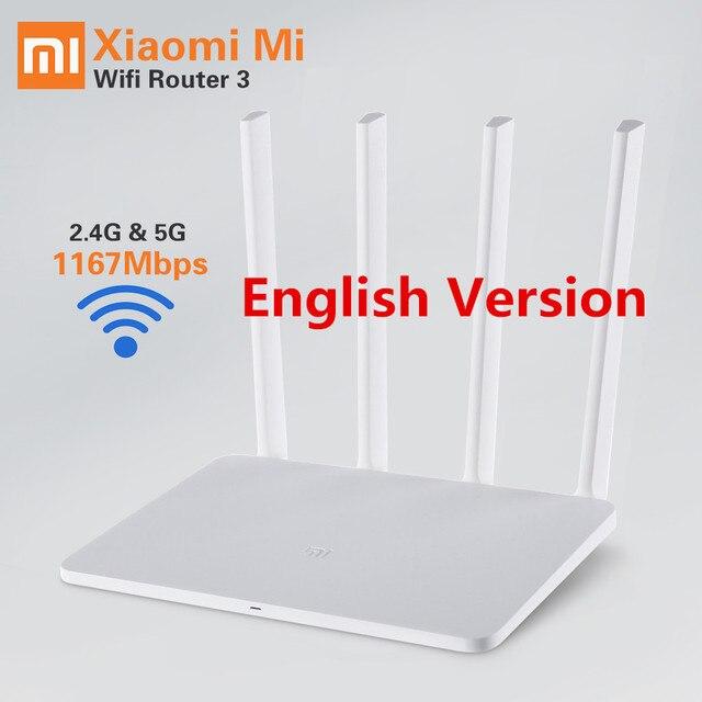 Английский Xiaomi Mi Wi-Fi Маршрутизатор 3 wi-fi Беспроводной Маршрутизатор 1167 Мбит 802.11ac Firewall 2.4 Г/5 Г Портативный wi-fi маршрутизатор Xiaomi Маршрутизатор 3
