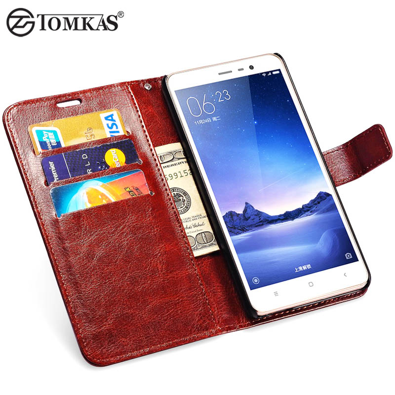 Redmi Note 3 Vintage Leather Wallet Case For Xiaomi Redmi Note 3 Flip Stand Phone Bag Cover With 3 Card Slots TOMKAS