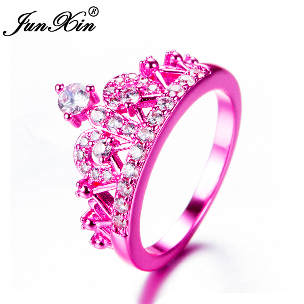 U7 Crown Rings For Women Birthday Gift Trendy Gold Color Cubic ...