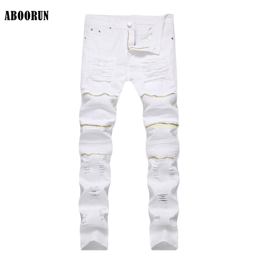 ABOORUN Fashion Mens Slim Ripped Jeans Red Zippers Hole Biker Motor Jeans Elastic Straight fit Denim Pants for Male YC1166
