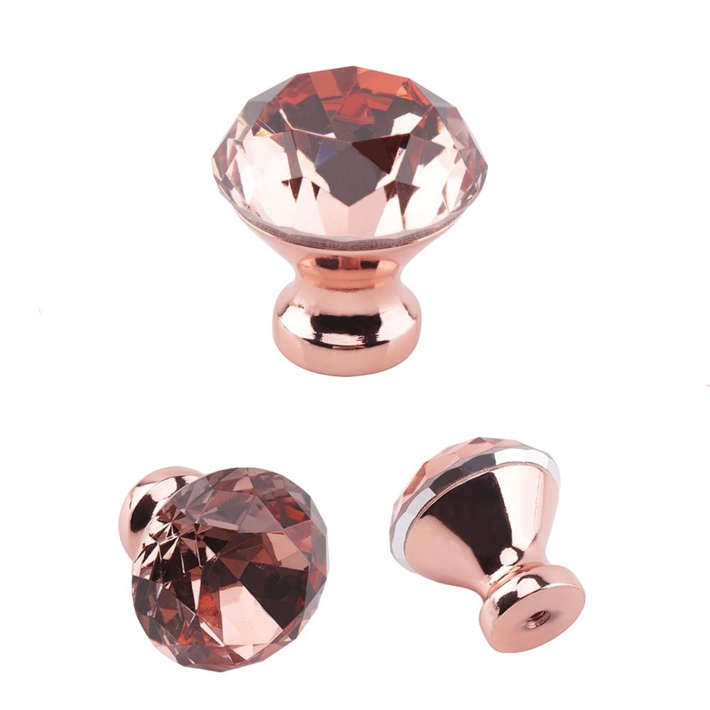 Us 167 16 Offrose Gold 30mm Diamond Crystal Cabinet Knobs Kitchen Furniture Door Handles Cupboard Wardrobe Drawer Pulls Handles Hardware In