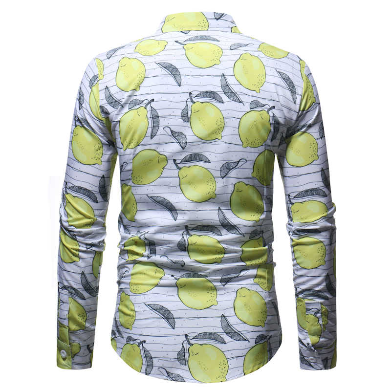 Забавная рубашка с лимонным принтом для мужчин, повседневная, 3D, фруктовая, полосатая, с принтом, мужская, на пуговицах, рубашки, вечерние, праздничные, гавайская, Пляжная рубашка 3XL