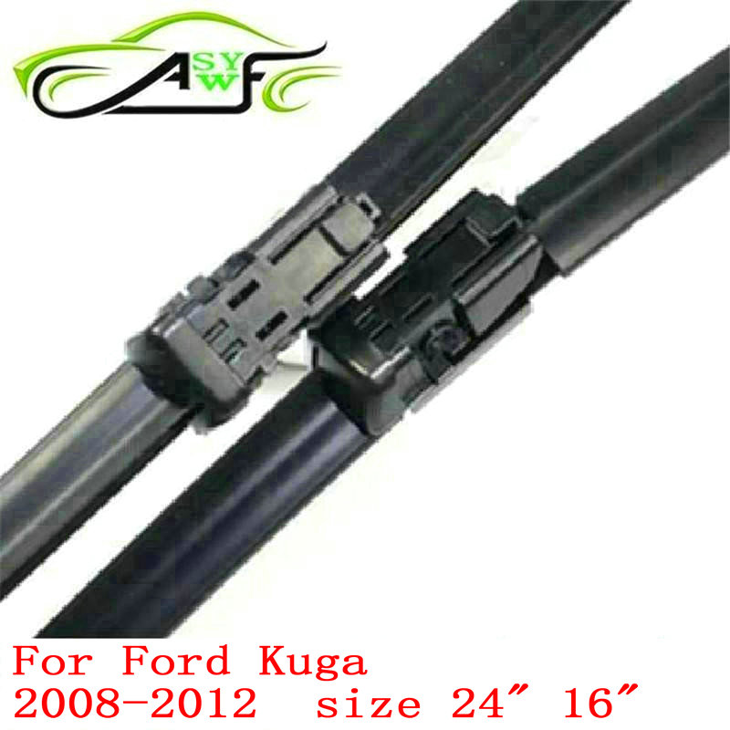 Free shipping car wiper blade for Ford Kuga (2008-2012) 24+16 natural rubber fit push button wiper arms