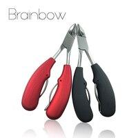 Brainbow 1pc Nail Scissor Black Red Sharp Curved Cuticle Scissors Nail Clipper Dead Skin Remover Manicure