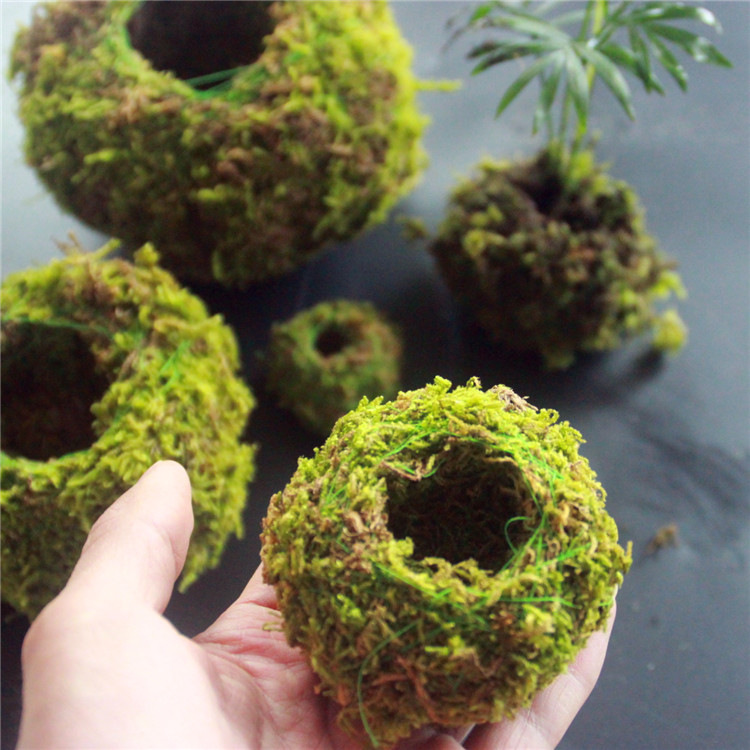6/9/12CM Green Moss Ball Flower Pot Flower Bonsai Pot Holder for Garden Home Decorations Moss Ball Plant Pot