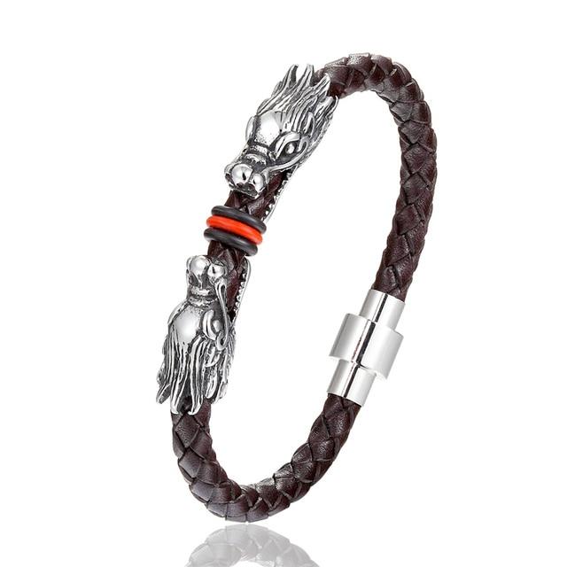 Фото мужской плетеный кожаный браслет 6*6 мм из нержавеющей стали