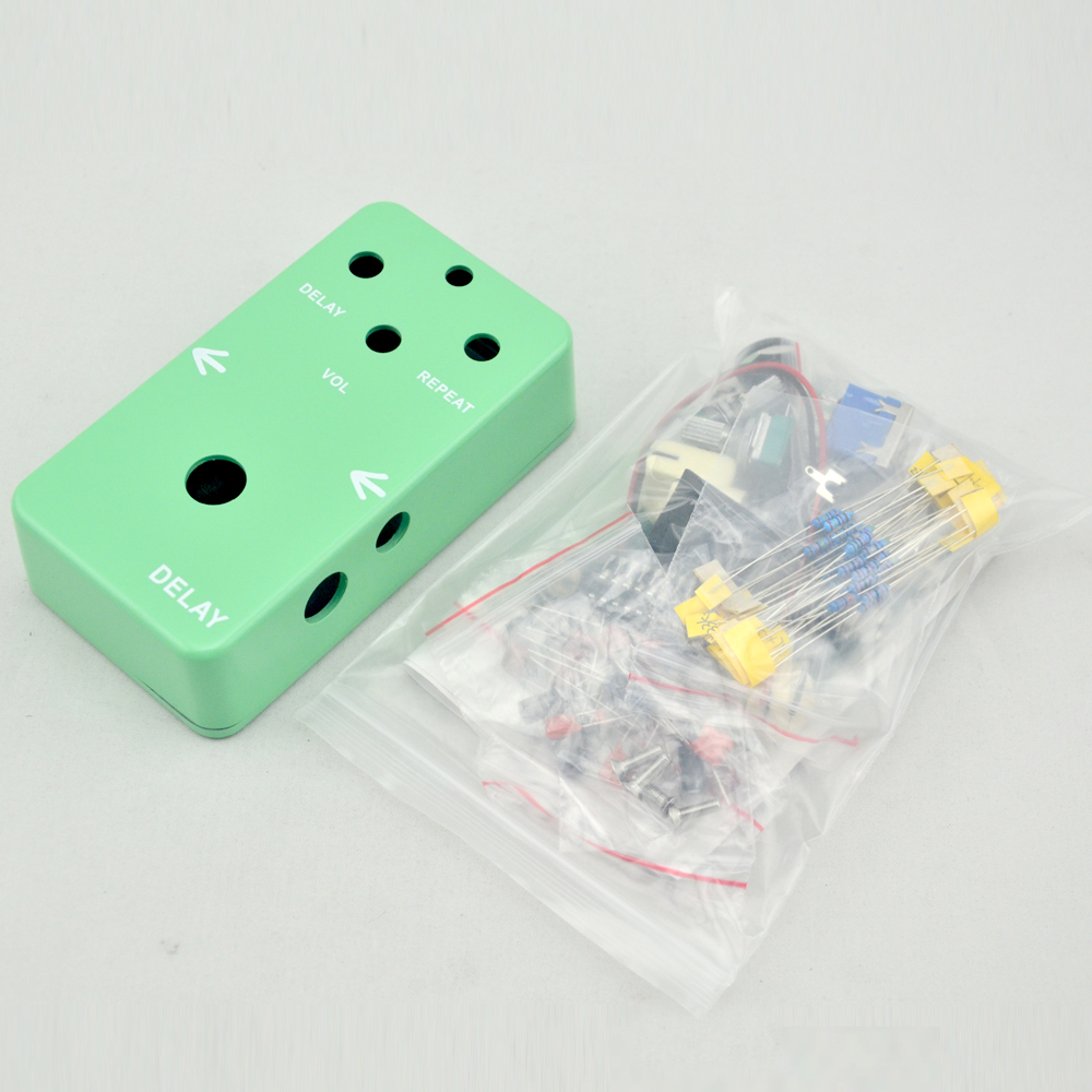 DIY Delay Effect pedal All Kits true bypass stomp box for bass guitar with 1590B Green enclosure diy electromagnetic kits for geek