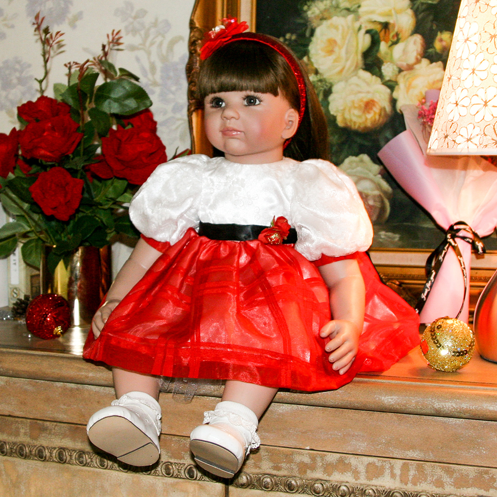 Cute Red Dress Silicone Reborn Girl Baby Doll Princess Doll Toys for Girls Lifelike Toddler Dolls Toys for Girls Birthday Gifts 52cm shoulder length hair reborn toddler baby girl doll smling princess girl doll in flower dress girls toys birthday xmas gifts