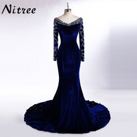 El 10 Robe De Soiree Sexy V Neck Long Sleeve Beads Royal Blue Mermaid Evening Dresses