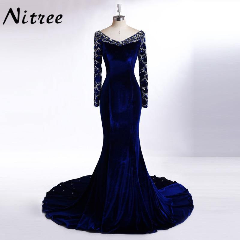 Real Pictures Royal Blue Velvet Mermaid   Evening     Dress   2017 Crystal Arabic Dubai Long Sleeve Gown Abiye Gala robe de soiree