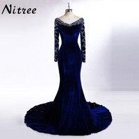 Vraies Images Bleu Royal Velours Sirène Robe de Soirée 2017 Cristal Arabe Dubaï Manches Longues Robe Abiye Gala robe de soirée