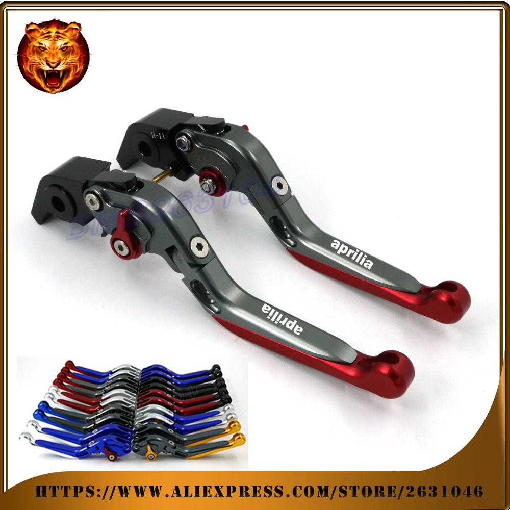 Adjustable Folding Extendable Brake Clutch Lever For APRILIA RSV MILLE/R 04 05 06 07 08 RACING  LOGO  Free shipping Motorcycle