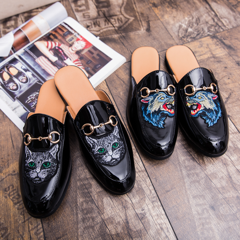 7e314f6df8ca Fashion Adult Slippers Men Animal Funny Mens Leather Sandal Summer Flat  Slippers Summer Men Breathable Big Sizes45 Soft Slippers