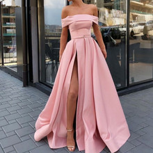 Strapless Pink Off the Shoulder Evening Dresses Sexy Gala Dress High Slit A Line Satin Elegant Yellow Long Party Gown