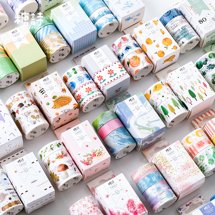 Sweet Flowers Fruits Sakura Cactus Bullet Journal Washi Tape Set Adhesive Tape DIY Scrapbooking Sticker Label Craft Masking Tape