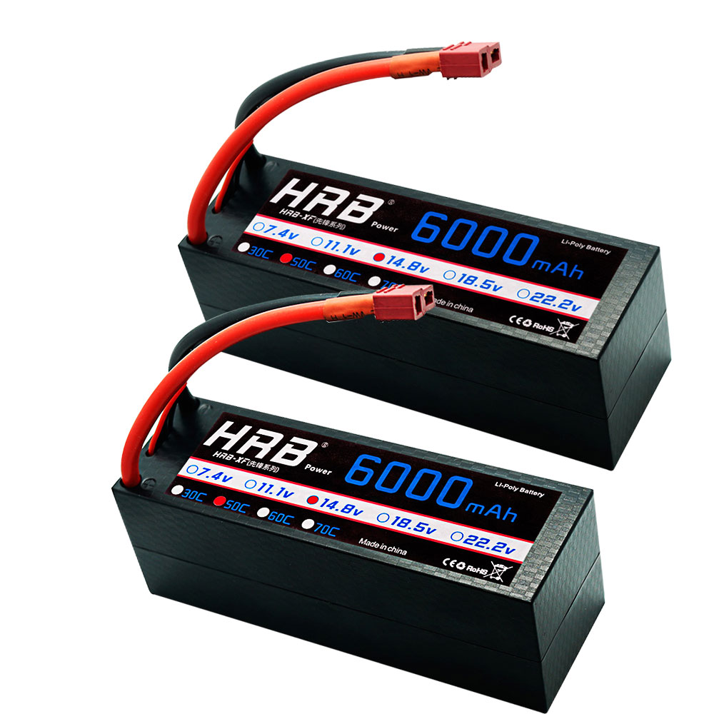 2 Units HRB RC Lipo Battery 4S 14.8V 6000mah 50C Burst 100C Hrad Case Deans Plug For RC Buggy Truggy Crawler Monster Boat Truck