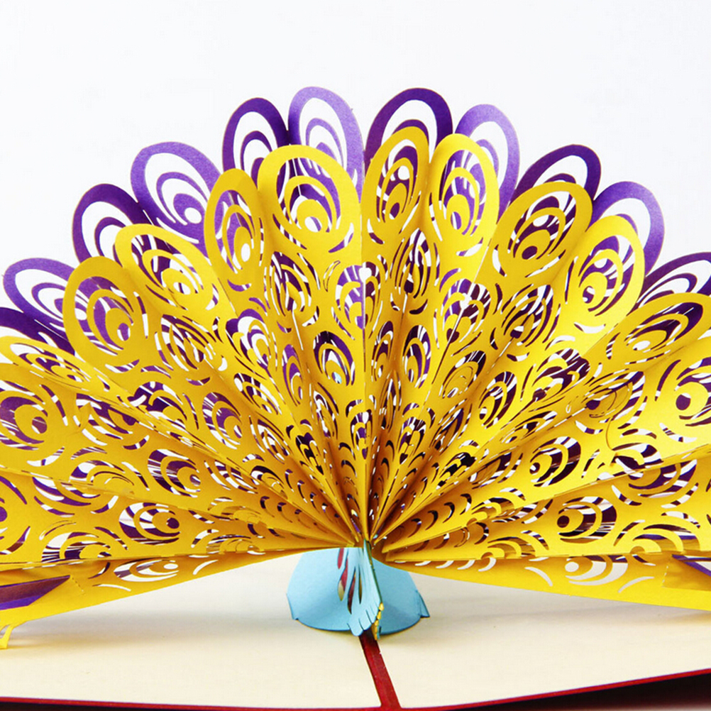 New Fashion 3D  Birthday Child Handmade Paper Art Carving Good Festival Gift Wholesale 1Pcs Animals Peacock Greeting Card