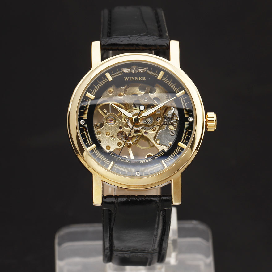 Hot WINNER Brand Fashion Men Mechanical Hand-Wind Skeleton Dial Genuine Leather Strap Wrist Watch Classic Style Male Gift Clock luxury women hand winding mechanical wrist watch genuine leather band strap dress wind up skeleton roman number stylish