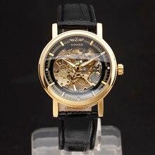 Relógio de pulso de pulseira de couro genuíno estilo clássico masculino relógio de pulso de mão-vento masculino