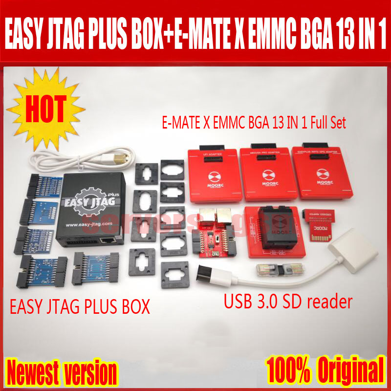 2019 plus récent Original facile jtag plus boîte + E-MATE X Emate boîte EMMC BGA 13 en 1, livraison gratuite