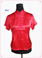 100% natural silk embroidered female shirt,pure silk Chinese style stand collar shirt women,100% silk women blouses