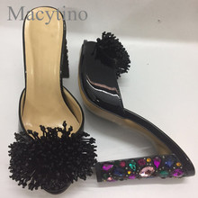 Dress-Shoes Jeweled Beading Mules Heel Slides Rhinestone High-Heel Women Ladies Fringed