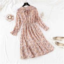 Шифоновое платье с цветочным принтом весна 2019 женское Плиссированное