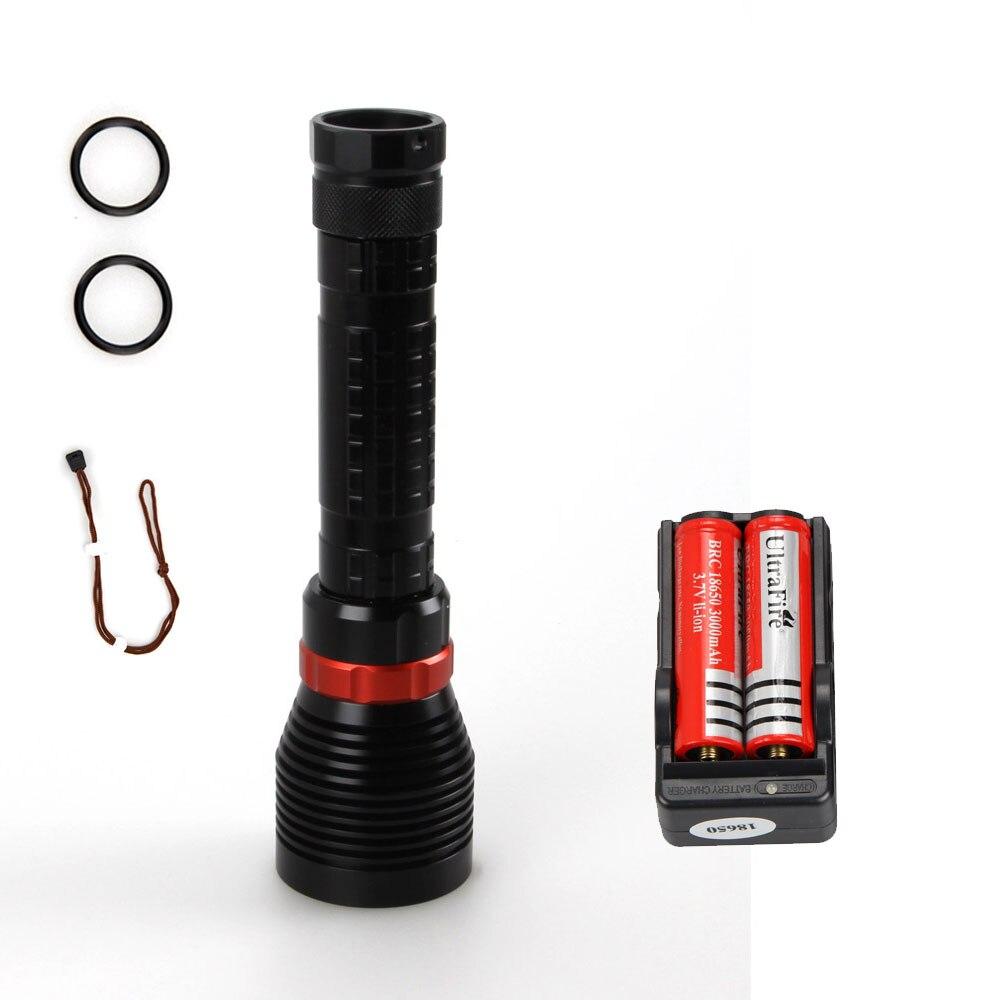 Underwater 100m Rechargeable <font><b>2500</b></font> <font><b>Lumen</b></font> XM-L2 <font><b>LED</b></font> Diving Scuba Flashlight Torch With 2x3000mAh 18650 Battery+ Dual Battery