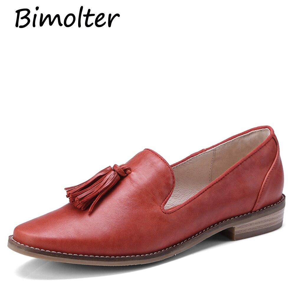 Bimolter Genuine Leather Shoes Women Fringe Flats Women Round Toe Ballet Ladies Flats Autumn Causal Boat Shoes Black LFSB013