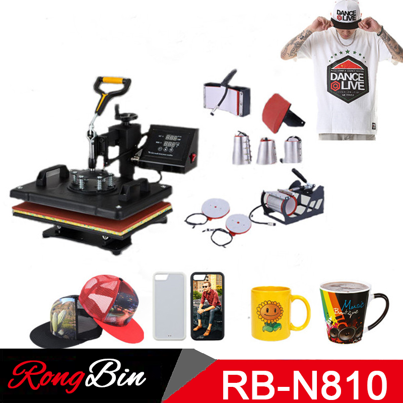 Double Display Slide Out Swing Away 8 in 1 Combo Heat Press Machine T shirt Printing Machine Cloth Phone Case Mug Cup Plate Cap