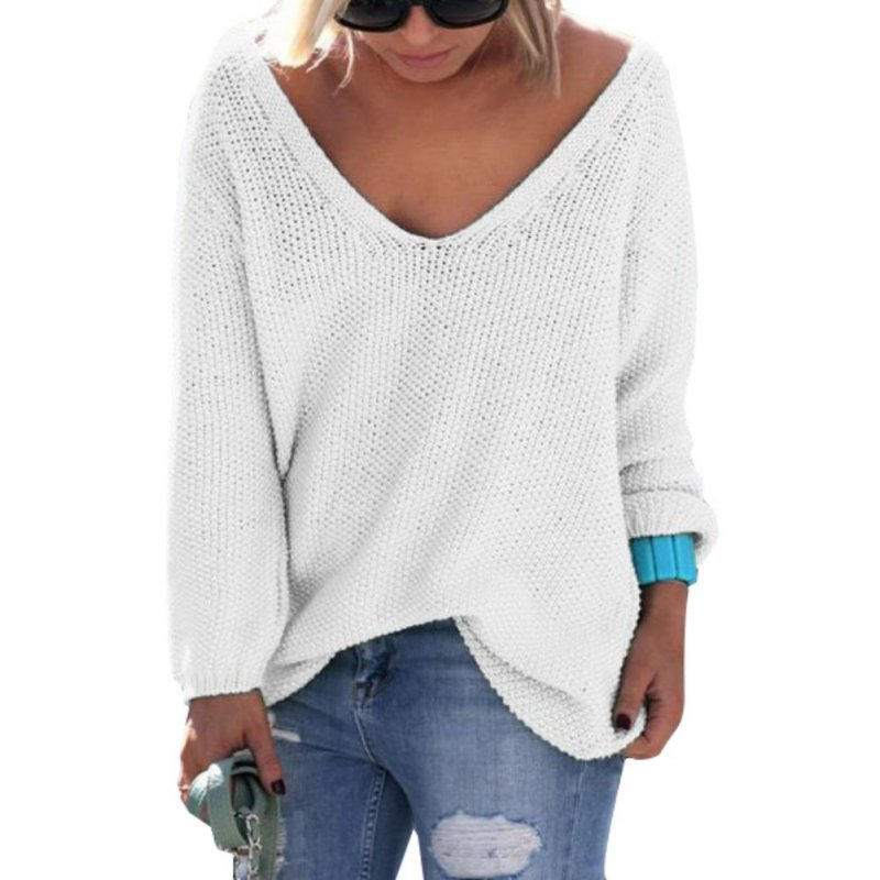New Fashion V-Neck Women Casual Long Sleeve Knitwear Jumper Sweater Lady Clothing Hot