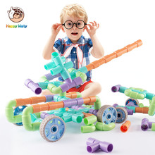 New Water Pipe Building Blocks DIY Assembling Pipeline Tunnel Car Model Educational Toy Gift For Kids With Wheels Christmas