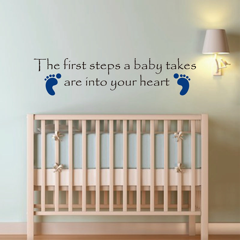 Babies First Steps Wall Sticker Quote Foot Prints Nursery Baby Shower,wholesale cute baby nursery room decor free shipping k3000